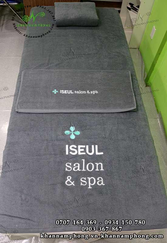 Mẫu khăn trải giường ISEUL Salon & Spa (Xám-Cotton)
