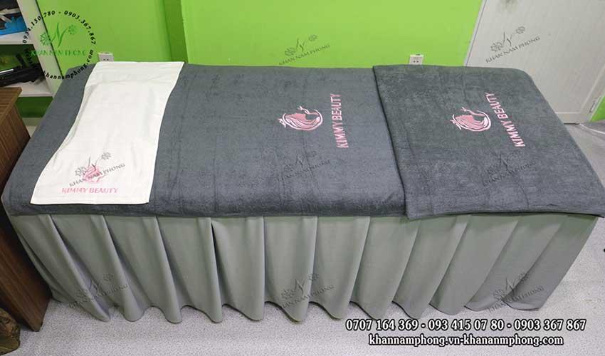 Mẫu khăn trải giường Kimmy Beauty (Xám&Trắng- Cotton)