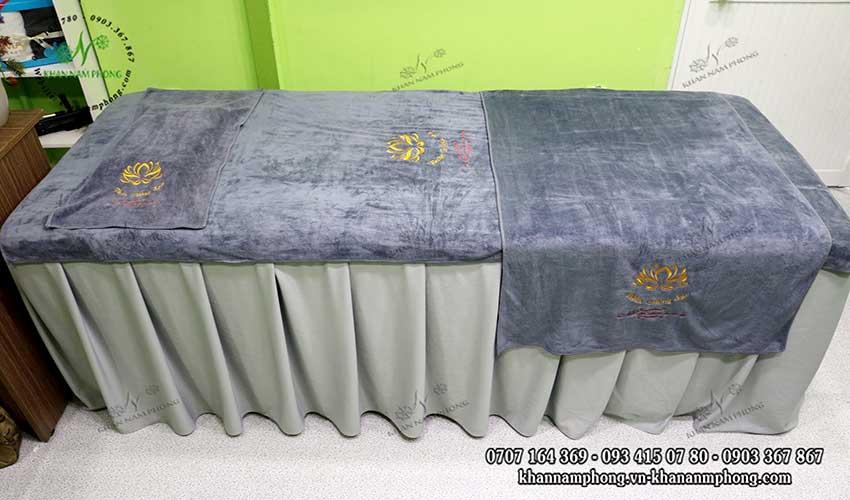 Mẫu khăn trải giường Thiên Đường Spa (Xám - Microfiber)