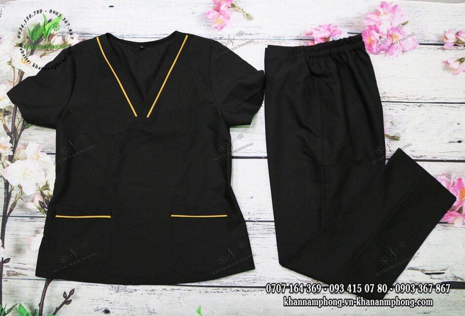 Mẫu đồng phục Spa màu đen có viền