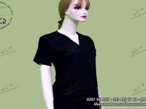 Đồng phục Spa cổ V màu đen