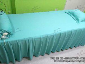 Ga trải giường spa màu xanh mint, chất liệu thun