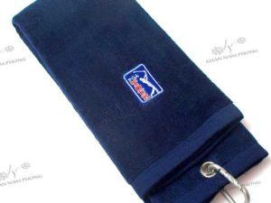 Khăn lau gậy golf màu chất liệu cotton thêu logo